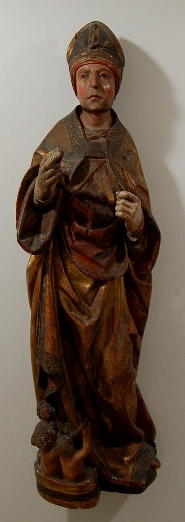 San Nicolás de Bari. Escultura en madera policromada, Alt.: 104 cm. Anónimo Siglo XVI. Instituto Gómez-Moreno de la Fundación Rodríguez-Acosta